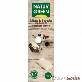 Naturgreen GALLETAS ECOLÓGICAS DE 5 CEREALES CON BAñO DE CHOCOLATE BLANCO 210 g