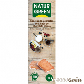 Naturgreen GALLETAS ECOLÓGICAS DE 5 CEREALES CON FONDO DE CHOCOLATE BLANCO 190 g