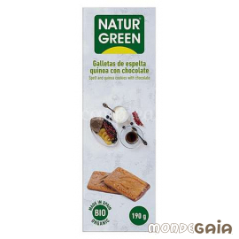 Naturgreen GALLETAS ECOLÓGICAS DE ESPELTA, QUINOA Y CHOCOLATE 190 g